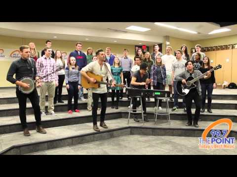 American Author perform with the Shawnee Mission West High School Choir