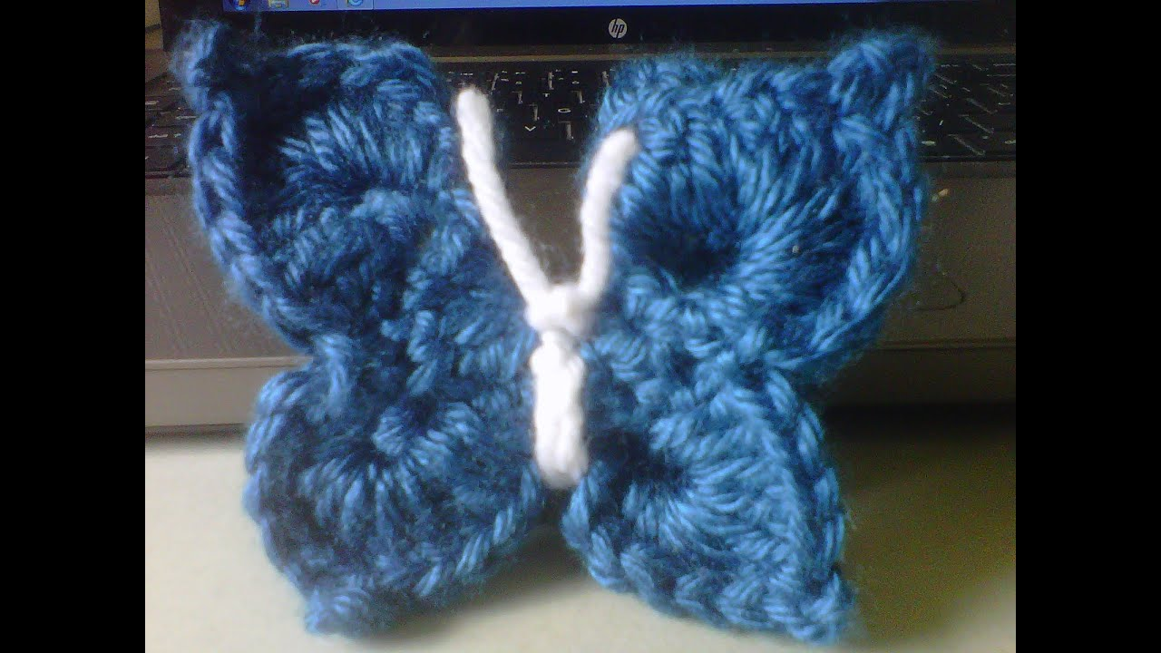 How to crochet an easy 3d butterfly not flat 3d youtube for Tutorial papillon