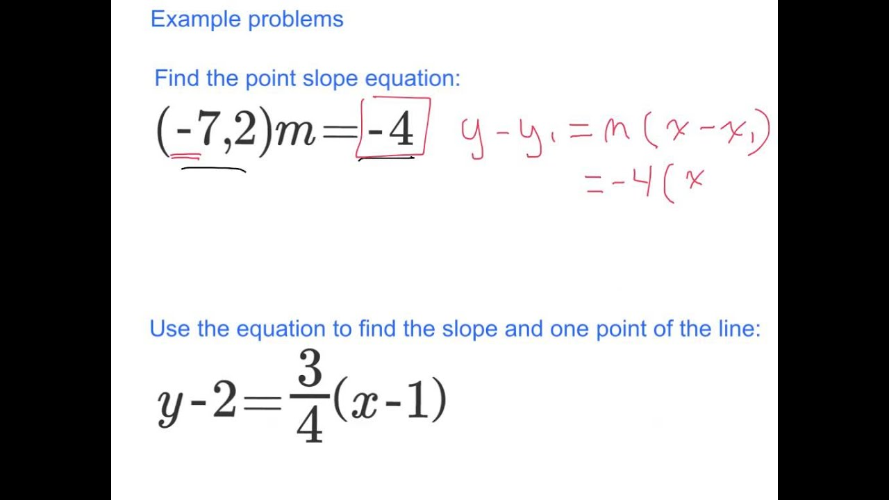 Writing equations in point slope form youtube writing equations in point slope form falaconquin