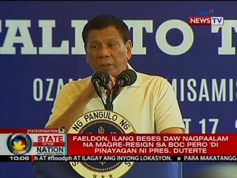 SONA: Faeldon, ilang beses daw nagpaalam na magre-resign sa BOC pero 'di pinayagan ni Pres. Duterte