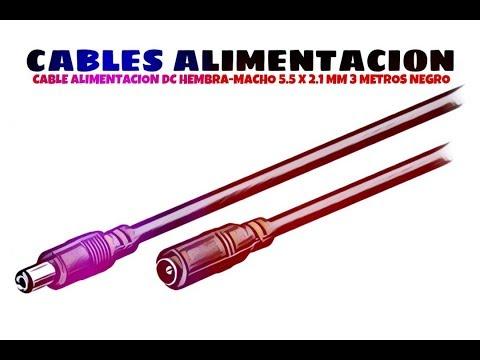 Video de Cable alimentacion DC hembra-macho 5.5 x 2.1 mm 3 M Negro