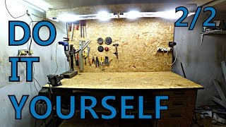 Making Great WORKBENCH to the shop part 2/2 (wood work, lighting, power supply ) DIY