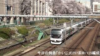 2018年3月26日(月)今日の特急「かいじ113号」5013M E257系(M-115編成) 甲府行【桜】