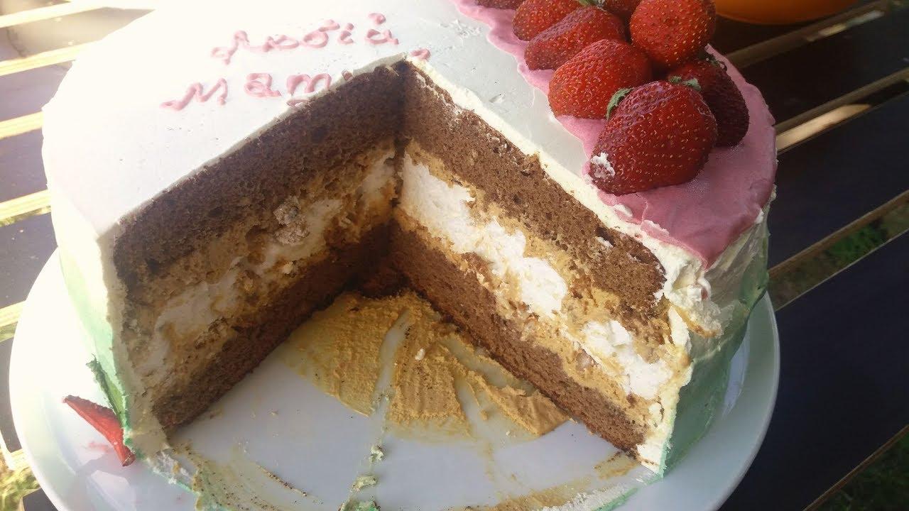 рецепт торта с безе и бисквитом с фото