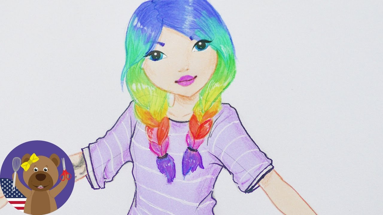 girl with rainbow hair - topmodel
