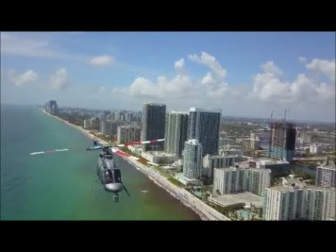 Air incident between a helicopter and a drone in Hollywood, Florida USA