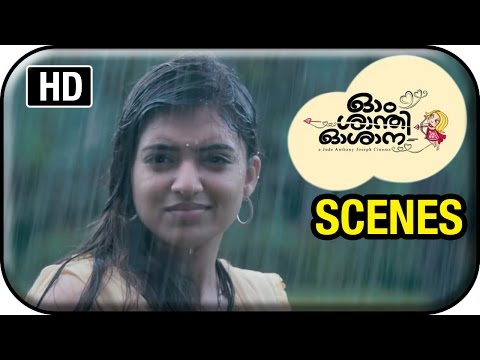 Om Shanti Oshana Movie Scenes HD | Nivin Pauly helps Nazriya in the rain | Renji Panicker