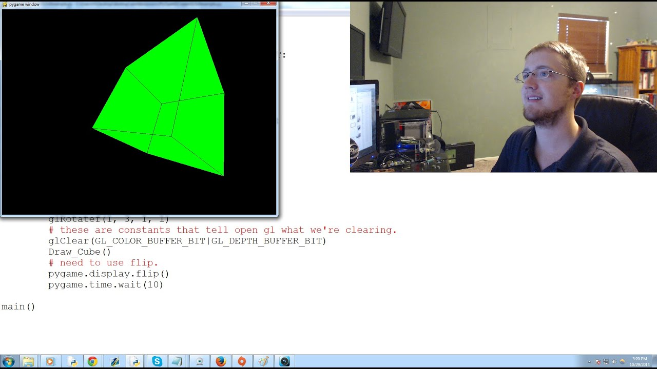 OpenGL with PyOpenGL tutorial Python and PyGame p 1 - Making a rotating  Cube Example