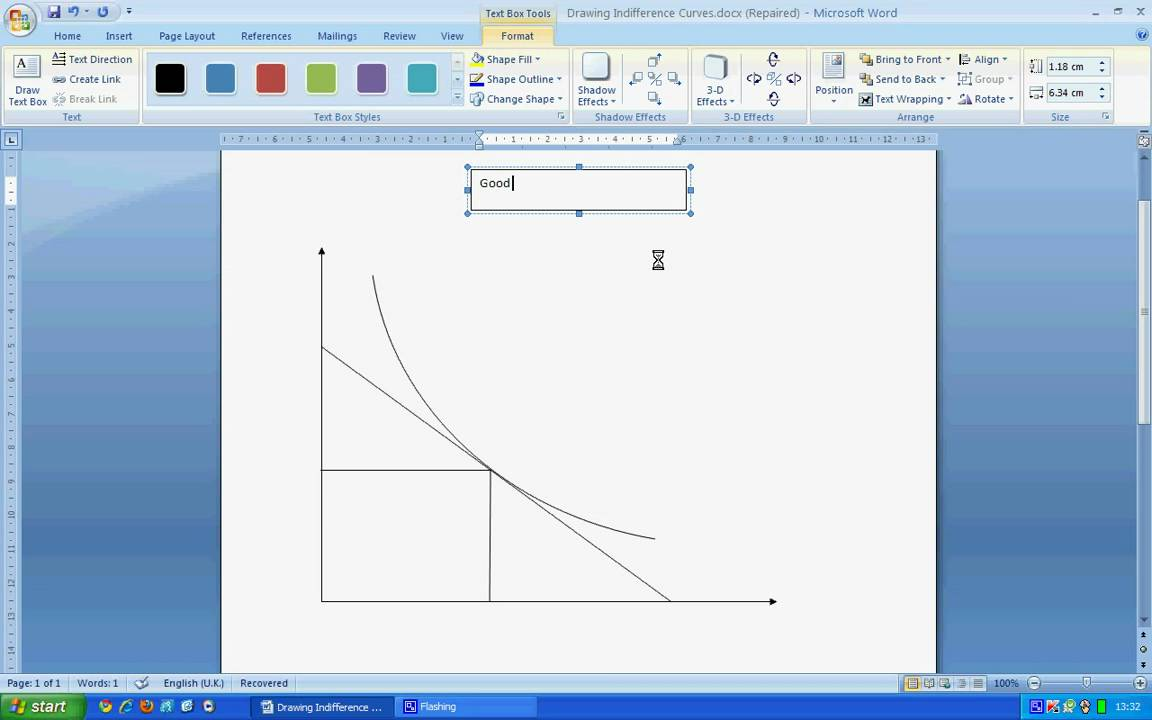 Drawing Lines With Word : Drawing indifference curves and budget constraints in