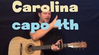 Carolina (Parmalee) Easy Guitar Lesson Strum Chord Licks How to Play Tutorial Capo 4th Fret