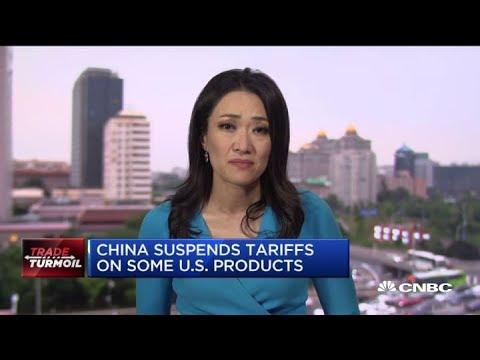 China suspends tariffs on some US products