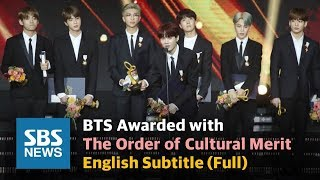 BTS 'All this glory to ARMYs' Awarded with the Order of Cultural Merit  English Sub (Full) / SBS