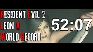 Resident Evil 2 Remake - Leon A Speedrun World Record - 52:07