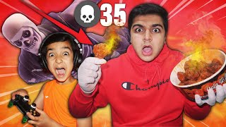 "I Ate 1 ""WORLDS SPICIEST CHICKEN WING"" For Every Kill My 6 Year Old Little Brother Got In Fortnite!"
