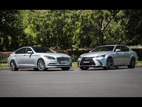 2016 Hyundai Genesis V6 vs Lexus GS350 0 100km h engine sound comparison