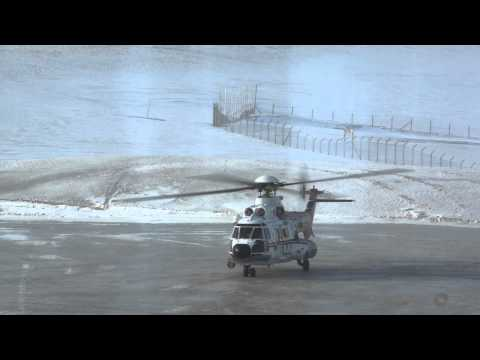 Super Puma all-weather helicopters landing to Svalbard Airport, LONGYEAR