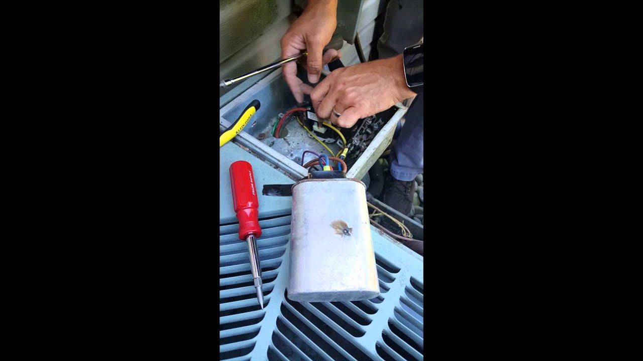 maxresdefault replacing dual capiciator & contactor rheem condenser youtube Rheem Thermostat Wiring at gsmportal.co