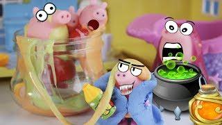 Свинка Пеппа и мама Свинка в зелье злой калдуньи, жуткая история ЮБИЛЕЙНОЕ ВИДЕО мультик для детей