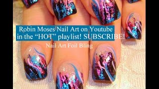 Pink and Blue Party Girl Foil Nails! How to Do Nail Art Foiling Design Tutorial