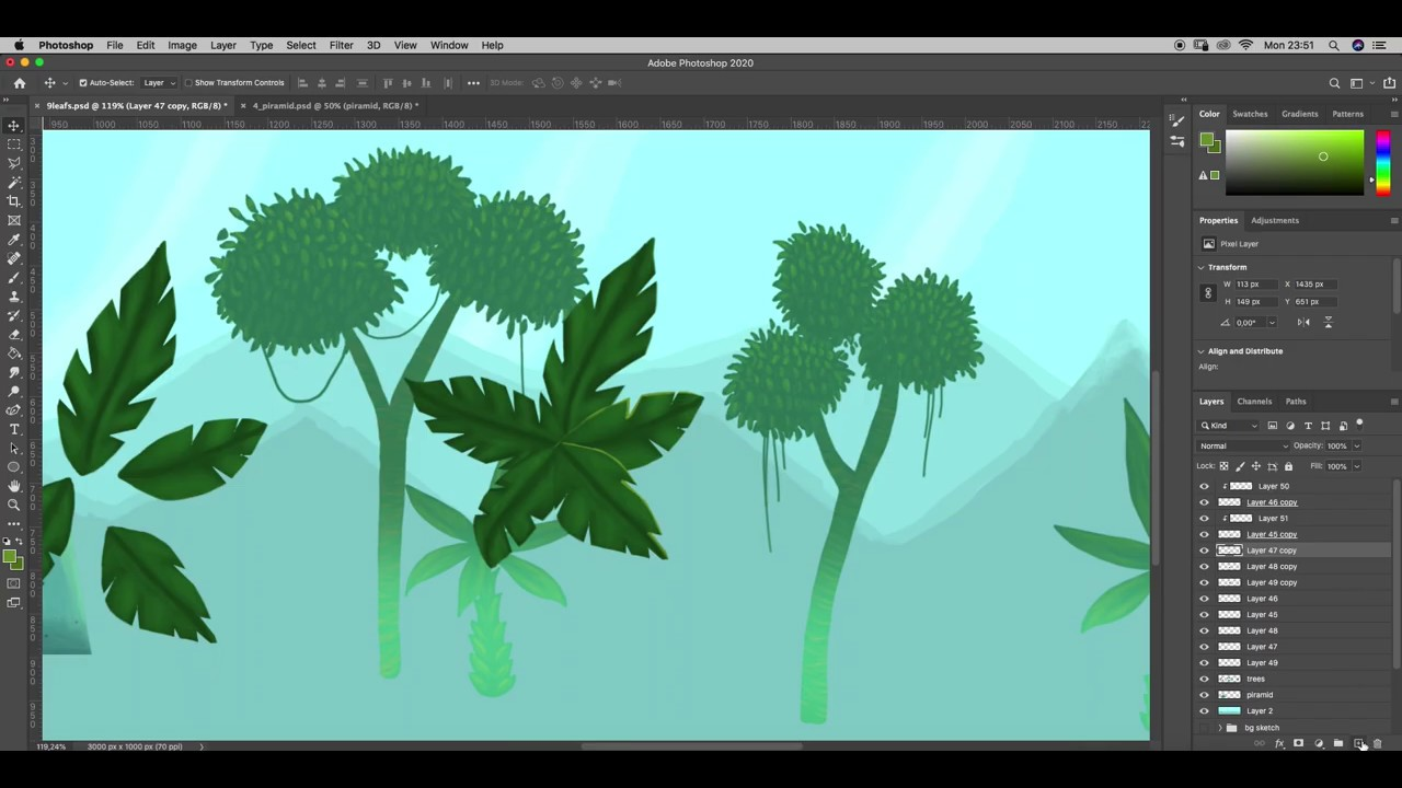 Painting Jungle foliage | 2D Game Design