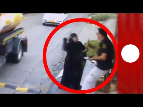 CCTV: Moment Palestinian woman attempts to stab Israeli security guard