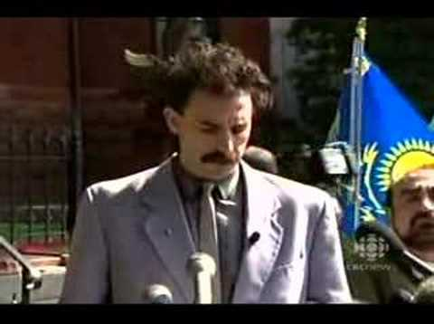 Borat's speech on Kazakhstan's new media ads