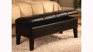 Coaster Button-tufted Design Storage Bench Brown Leatherette