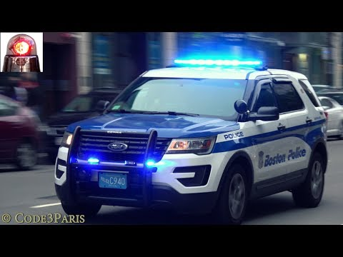 Boston Police Ford Interceptor Utility Responding with a Great Siren