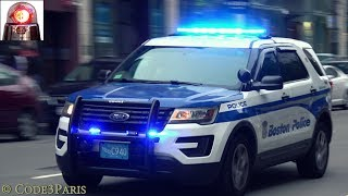 A ford police interceptor utility of the boston department is seen here responding to an emergency on boylston street with unusual siren tone, prob...