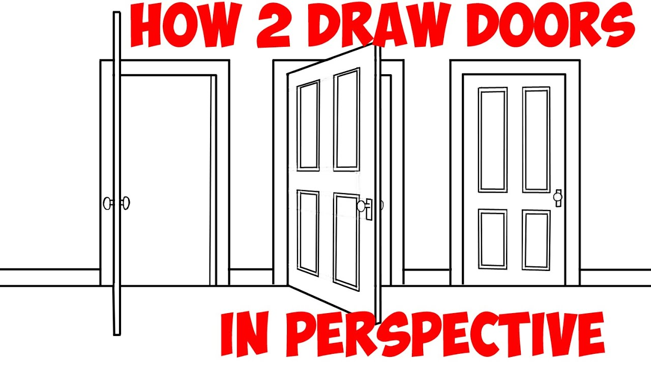 Open door drawing perspective - How To Draw An Open Door Opening Doors In 2 Point Perspective Easy Step By Step Drawing Tutorial Youtube