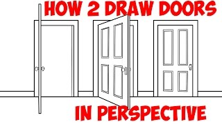 How to Draw an Open Door (Opening Doors) in 2 Point Perspective Easy Step by Step Drawing Tutorial
