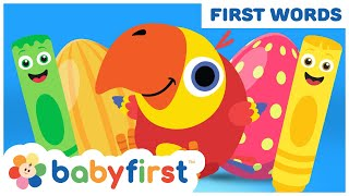 Toddler Learning Video Words w Color Crew & Larry | Learn Colors & Animals for Kids | BabyFirst TV