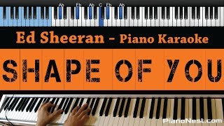 Ed Sheeran - Shape Of You - LOWER Key (Piano Karaoke / Sing Along)