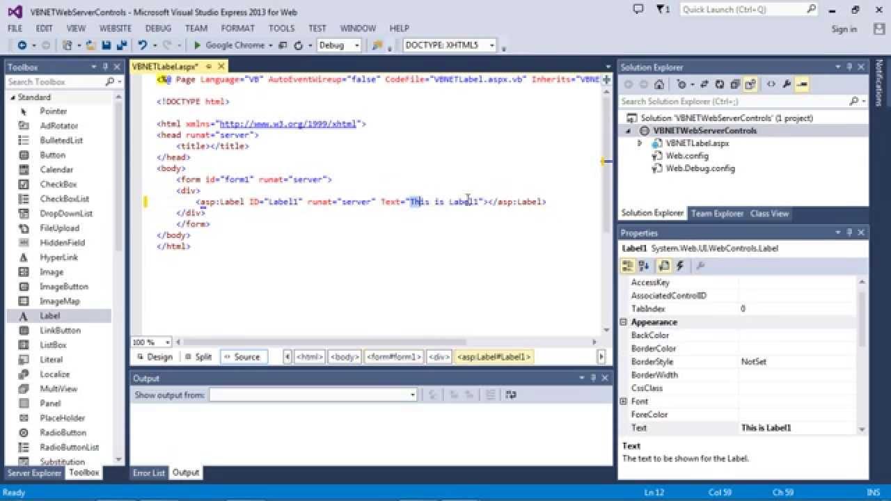 ASP NET Label - how to set text (3 different ways) (VB NET)