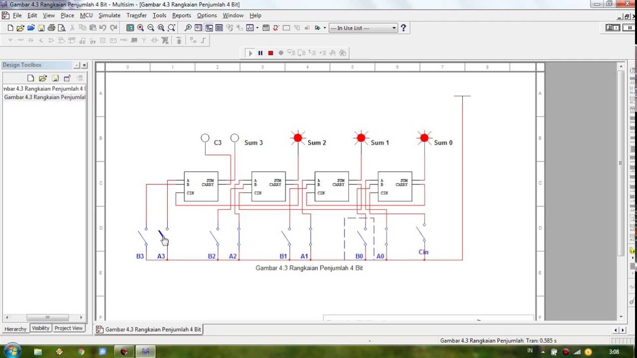multisim tutorial adder 4 bit of circuit [ 1280 x 720 Pixel ]