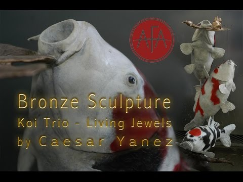 Most Realistic KOI Sculptures In Bronze - Koi Trio Living Jewels By Caesar Yanez