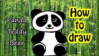 HOW TO DRAW PANDA TEDDY BEAR easy art for kids