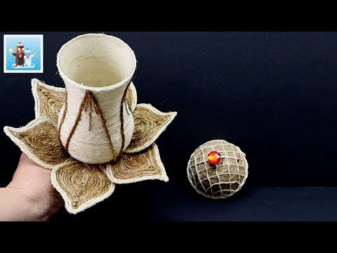 Amazing Jewelry Box from Jute Rope and Wine Glass Art and Craft