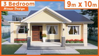 9 Meters By 10 Meters One-story, 3 Bedroom, House Design With Terrace 82 Sq. M / 882 Sq. Ft