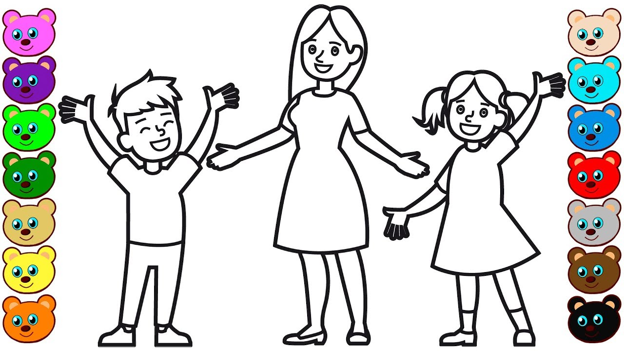 coloring pages mom and kids - photo#20