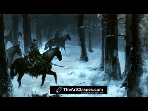 How To Paint Snow Forest And Horsemen Digital Painting