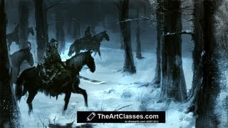 How to paint snow forest and horsemen digital painting environment concept art