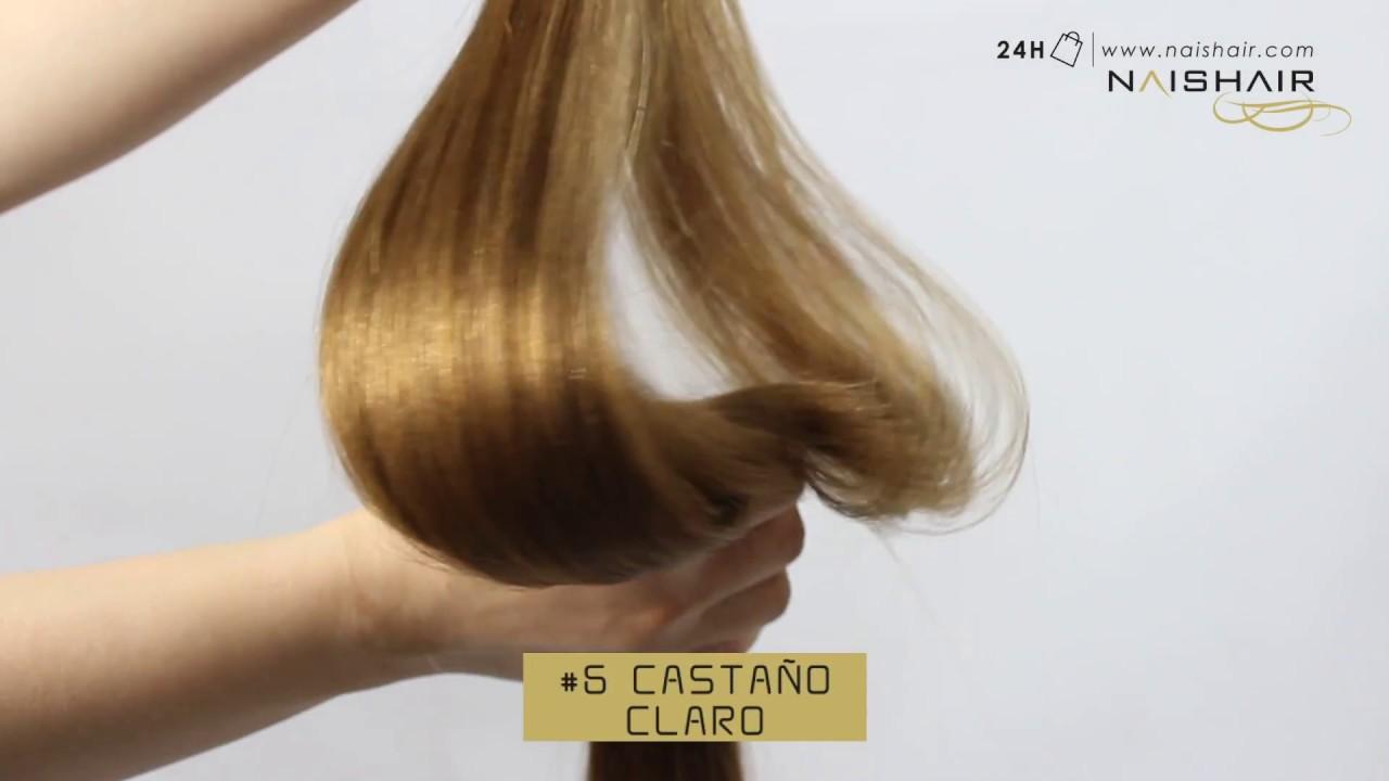 Color  6 Castaño Claro - Extensiones de Pelo Natural - YouTube 70eca6670955