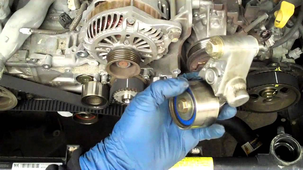 How to replace a SOHC Subaru 25l Timing Belt  YouTube