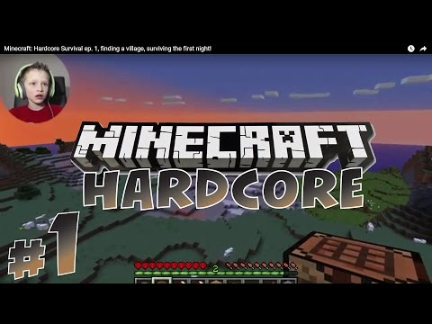 Minecraft: Hardcore Survival #1, finding village, surviving first night! | KID GAMING