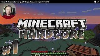 Minecraft: Hardcore Survival #1, finding village, surviving first night! | KID GAMING