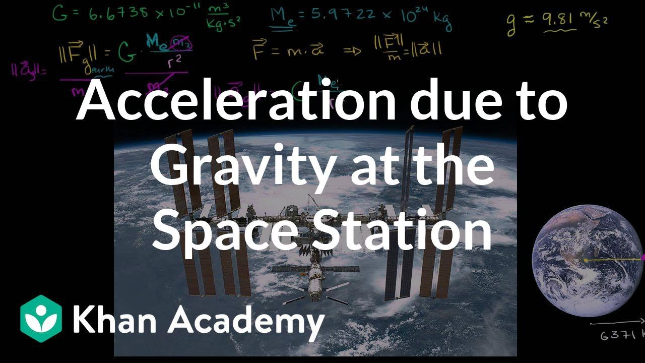 Acceleration due to gravity at the space station (video