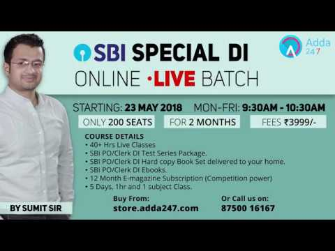 SBI SPECIAL DI ONLINE LIVE BATCH By Sumit Sir | Call Us On 8750016167