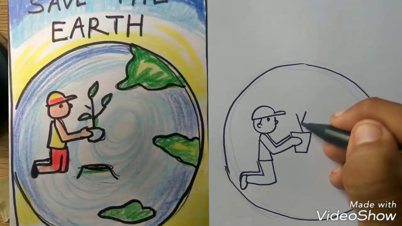 Cara Menggambar Poster Hari Bumi Howcto Draw Earth Day Poster