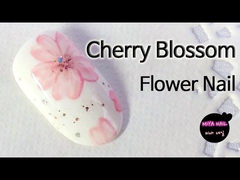 Cherry blossom Nail Art (Flower nail)